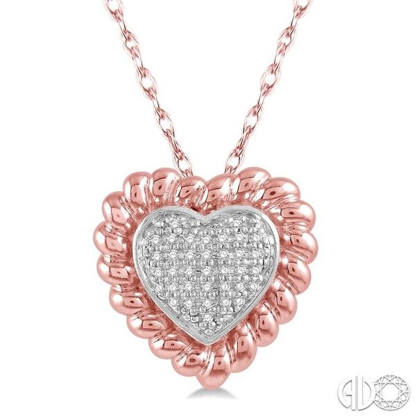 1/20 Ctw Cutwork Heart Round Cut Diamond Pendant in 10K Rose Gold with chain Becker's Jewelers Burlington, IA