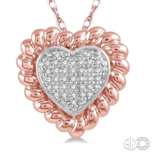 1/20 Ctw Cutwork Heart Round Cut Diamond Pendant in 10K Rose Gold with chain Image 3 Becker's Jewelers Burlington, IA