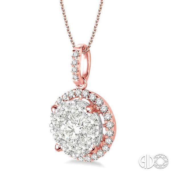 1 1/2 Ctw Lovebright Round Cut Diamond Pendant in 14K Rose Gold with Chain Image 2 Becker's Jewelers Burlington, IA