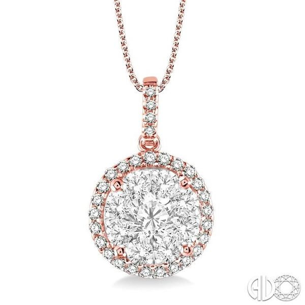 1 1/2 Ctw Lovebright Round Cut Diamond Pendant in 14K Rose Gold with Chain Becker's Jewelers Burlington, IA