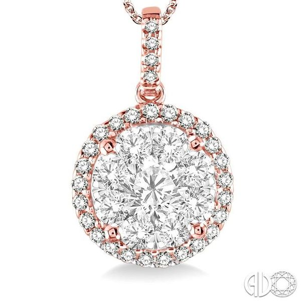 1 1/2 Ctw Lovebright Round Cut Diamond Pendant in 14K Rose Gold with Chain Image 3 Becker's Jewelers Burlington, IA
