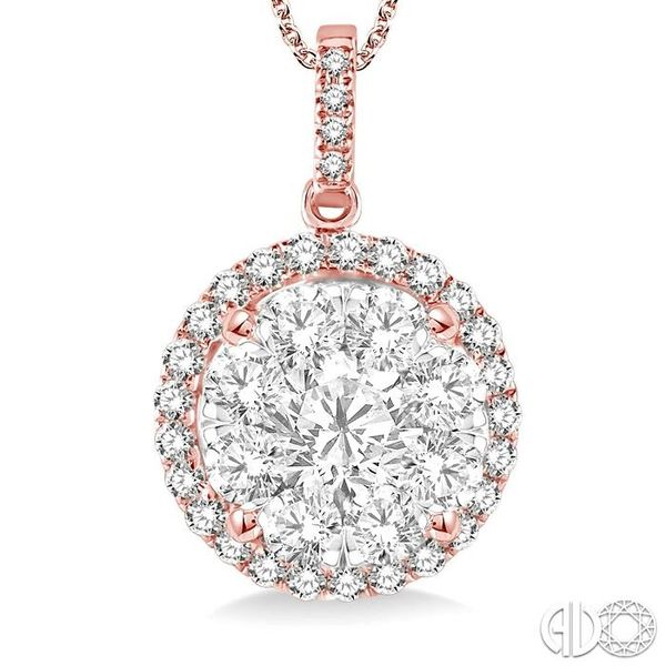 2 Ctw Lovebright Round Cut Diamond Pendant in 14K Rose Gold with Chain Image 3 Becker's Jewelers Burlington, IA