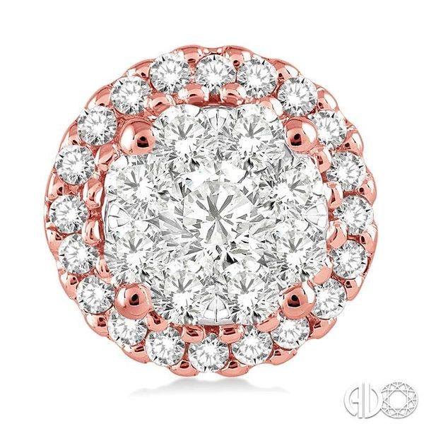 1 Ctw Lovebright Round Cut Diamond Earrings in 14K Rose and White Gold Image 2 Becker's Jewelers Burlington, IA
