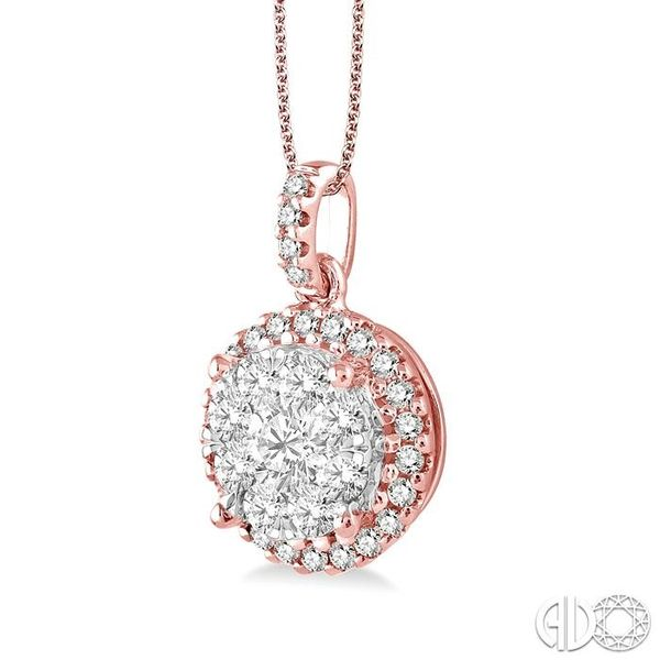 1 Ctw Lovebright Round Cut Diamond Pendant in 14K Rose and White Gold with Chain Image 2 Becker's Jewelers Burlington, IA
