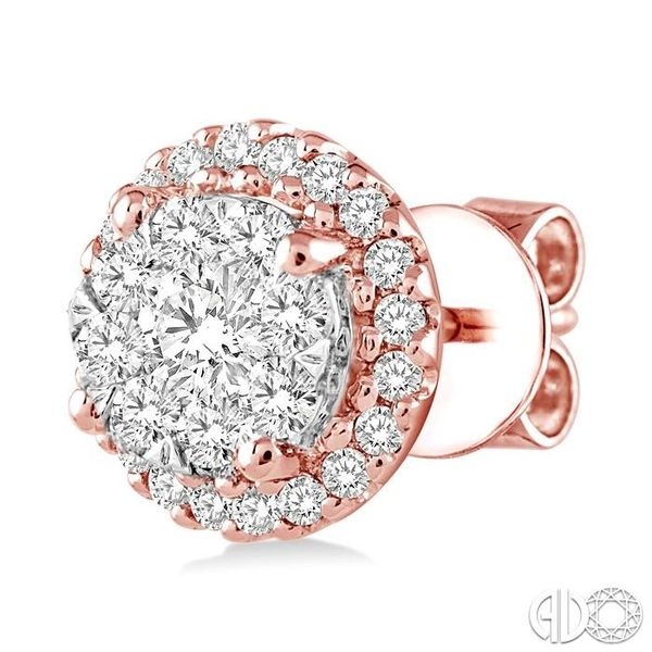 3/4 Ctw Lovebright Round Cut Diamond Earrings in 14K Rose and White Gold Image 3 Becker's Jewelers Burlington, IA