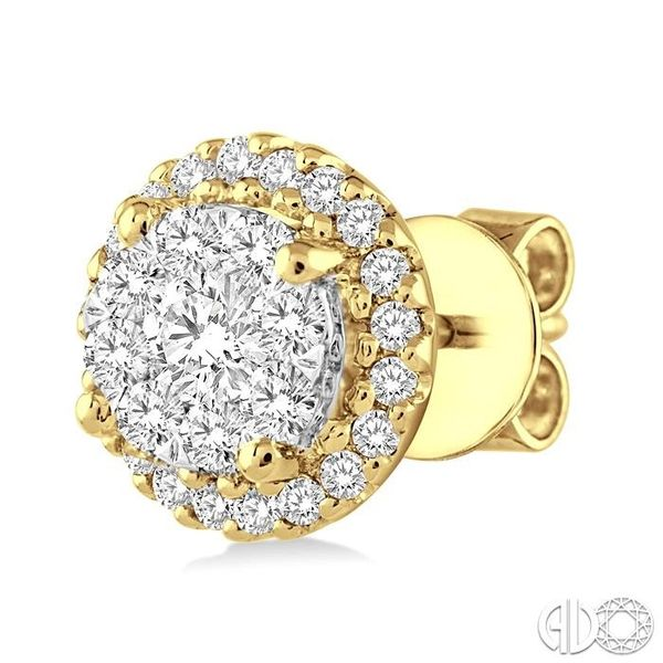 1/2 Ctw Lovebright Round Cut Diamond Earrings in 14K Yellow and White Gold Image 3 Becker's Jewelers Burlington, IA