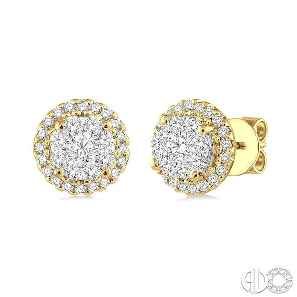 1/2 Ctw Lovebright Round Cut Diamond Earrings in 14K Yellow and White Gold Becker's Jewelers Burlington, IA