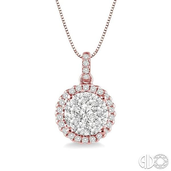 1/2 Ctw Lovebright Round Cut Diamond Pendant in 14K Rose and White Gold with Chain Becker's Jewelers Burlington, IA