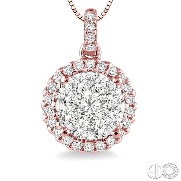 1/2 Ctw Lovebright Round Cut Diamond Pendant in 14K Rose and White Gold with Chain Image 3 Becker's Jewelers Burlington, IA