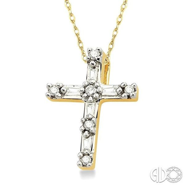 1/10 Ctw Diamond Cross Pendant in 10K Yellow Gold with Chain Image 2 Becker's Jewelers Burlington, IA