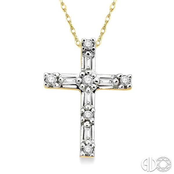 1/10 Ctw Diamond Cross Pendant in 10K Yellow Gold with Chain Becker's Jewelers Burlington, IA