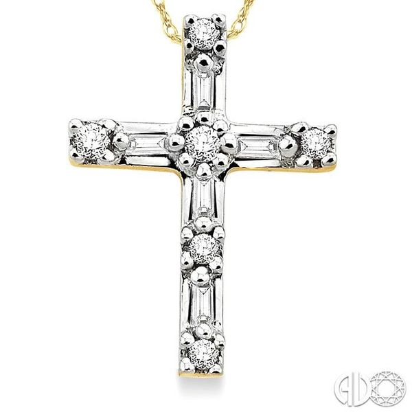 1/10 Ctw Diamond Cross Pendant in 10K Yellow Gold with Chain Image 3 Becker's Jewelers Burlington, IA