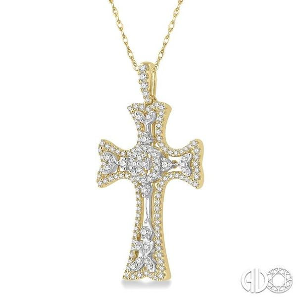 7/8 Ctw Round Cut Diamond Cross Pendant in 14K Yellow and White Gold Image 2 Becker's Jewelers Burlington, IA