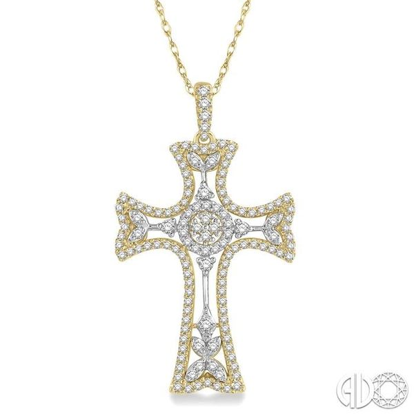 7/8 Ctw Round Cut Diamond Cross Pendant in 14K Yellow and White Gold Becker's Jewelers Burlington, IA
