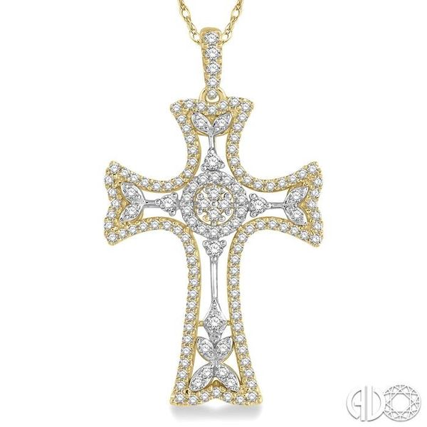 7/8 Ctw Round Cut Diamond Cross Pendant in 14K Yellow and White Gold Image 3 Becker's Jewelers Burlington, IA