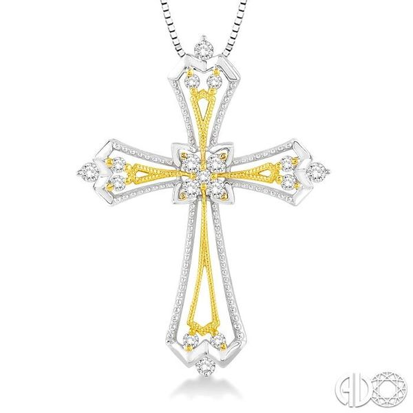 1/3 Ctw Round Cut Diamond Cross Pendant in 14K White and Yellow Gold with Chain Image 3 Becker's Jewelers Burlington, IA