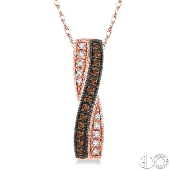 1/5 Ctw White and Champagne Brown Single Cut Diamond Pendant in 14K Rose Gold with Chain Becker's Jewelers Burlington, IA