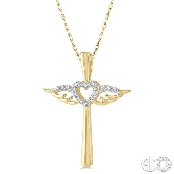 1/10 ctw Angel Wing & Heart Round Cut Diamond Cross Pendant With Chain in 10K Yellow Gold Image 2 Becker's Jewelers Burlington, IA
