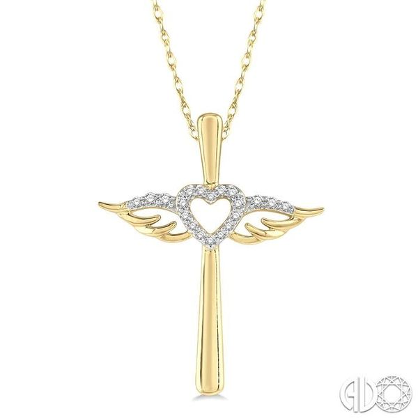 1/10 ctw Angel Wing & Heart Round Cut Diamond Cross Pendant With Chain in 10K Yellow Gold Becker's Jewelers Burlington, IA