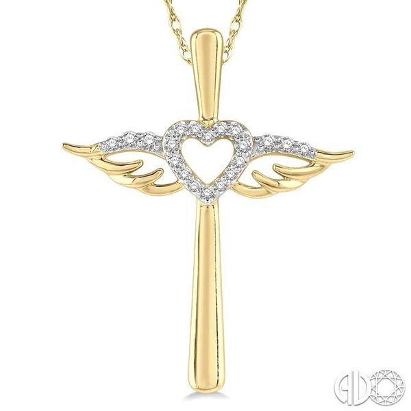 1/10 ctw Angel Wing & Heart Round Cut Diamond Cross Pendant With Chain in 10K Yellow Gold Image 3 Becker's Jewelers Burlington, IA