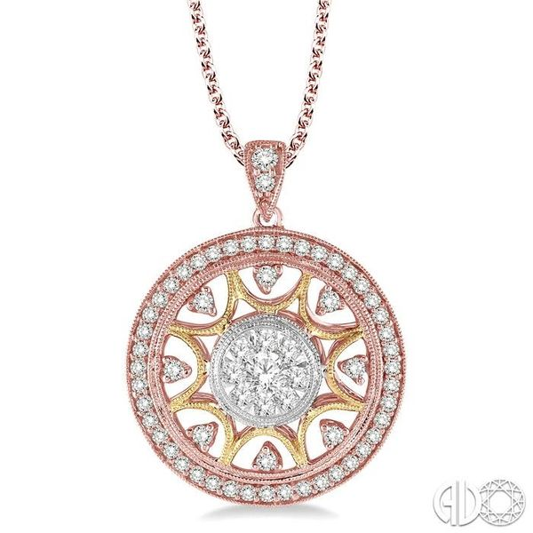 1 Ctw Round Cut Diamond Lovebright Pendant in 14K Tri Color Gold with Chain Becker's Jewelers Burlington, IA