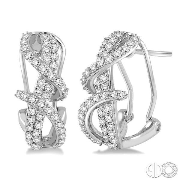 7/8 Ctw Round Cut Diamond Earrings in 14K White Gold Becker's Jewelers Burlington, IA