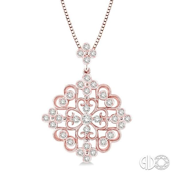 3/4 Ctw Round Cut Diamond Fashion Pendant in 14K Rose Gold with Chain Becker's Jewelers Burlington, IA
