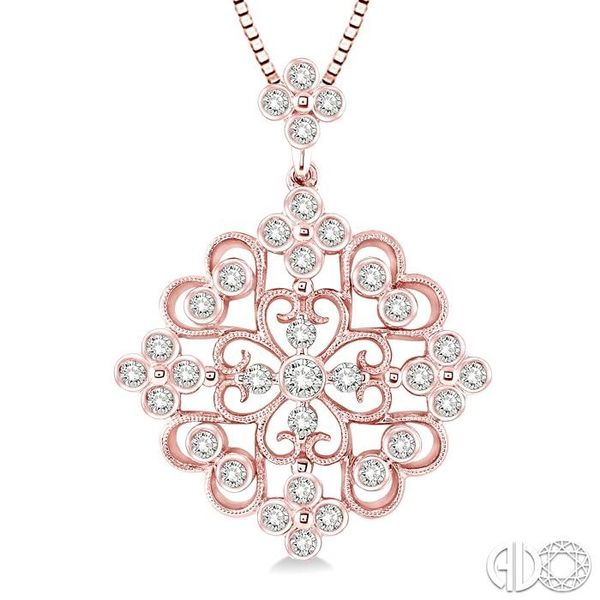 3/4 Ctw Round Cut Diamond Fashion Pendant in 14K Rose Gold with Chain Image 3 Becker's Jewelers Burlington, IA