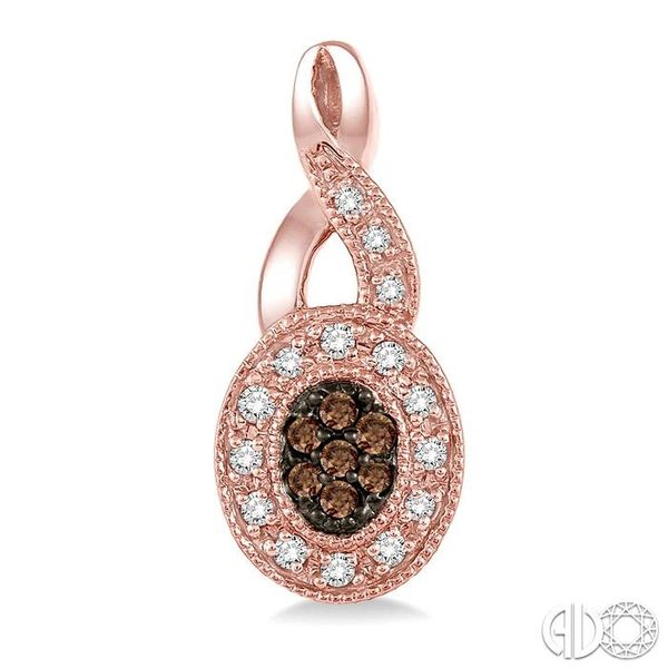 3/8 Ctw Round Cut White and Champagne Brown Diamond Earrings in 10K Rose Gold Image 2 Becker's Jewelers Burlington, IA