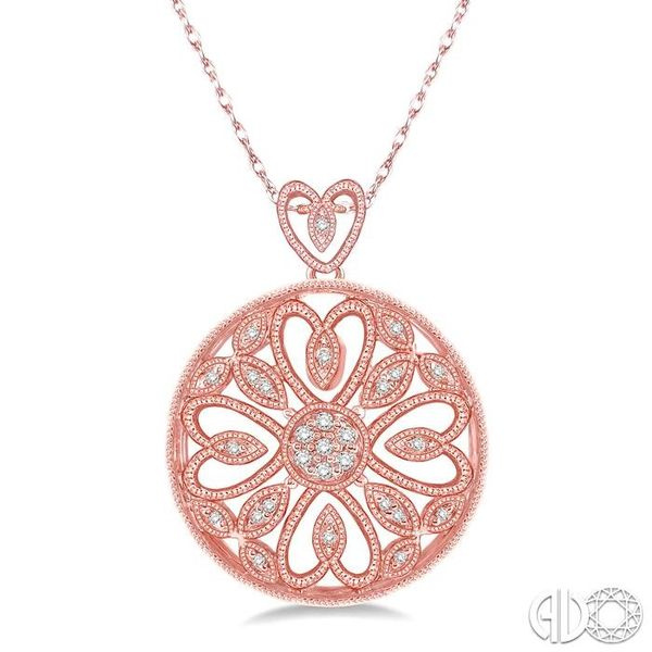 1/6 Ctw Round Cut Diamond Fashion Pendant in 10K Rose Gold with Chain Becker's Jewelers Burlington, IA