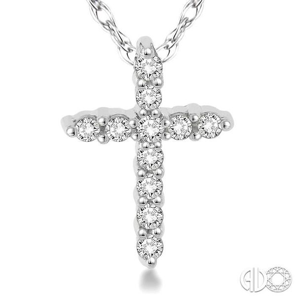 1/20 Ctw Round Cut Diamond Cross Pendant in 10K White Gold with Chain Image 3 Becker's Jewelers Burlington, IA