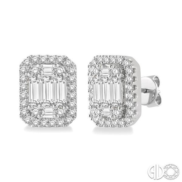 3/8 Ctw Octagonal Baguette & Round Cut Diamond Stud Earrings in 14K White Gold Becker's Jewelers Burlington, IA