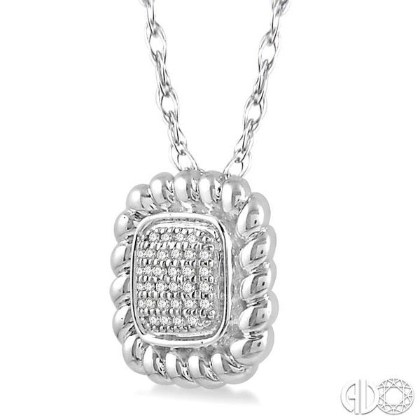 1/20 Ctw Cushion Shape Cutwork Round Cut Diamond Pendant in 10K White Gold with chain Image 2 Becker's Jewelers Burlington, IA