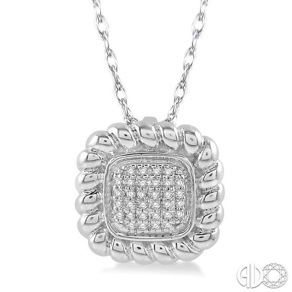 1/20 Ctw Cushion Shape Cutwork Round Cut Diamond Pendant in 10K White Gold with chain Becker's Jewelers Burlington, IA