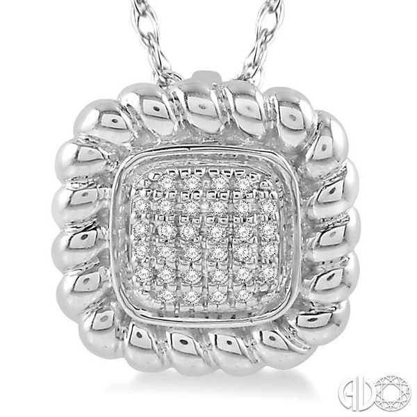 1/20 Ctw Cushion Shape Cutwork Round Cut Diamond Pendant in 10K White Gold with chain Image 3 Becker's Jewelers Burlington, IA