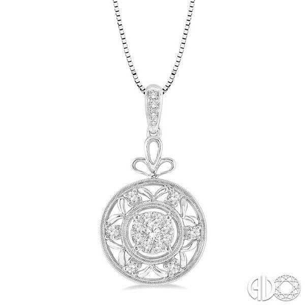 1/2 Ctw Round Cut Diamond Lovebright Pendant in 14K White Gold with Chain Becker's Jewelers Burlington, IA