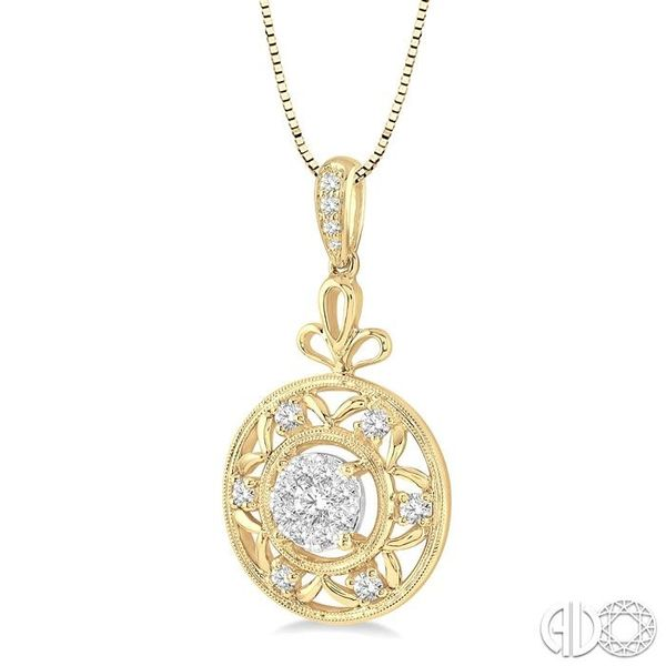 1/2 Ctw Round Cut Diamond Lovebright Pendant in 14K Yellow and White Gold with Chain Image 2 Becker's Jewelers Burlington, IA