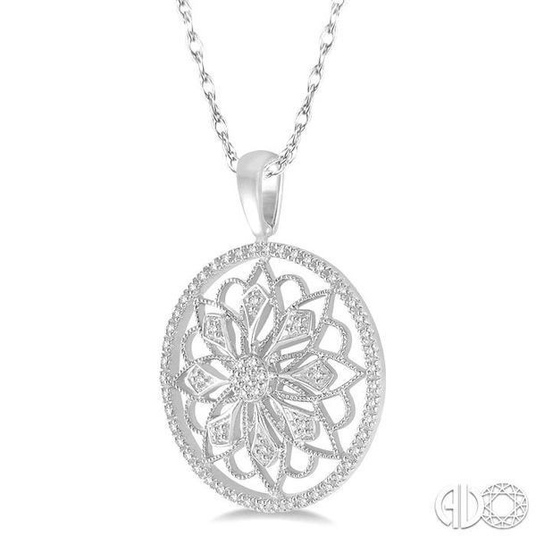 1/5 Ctw Round Cut Diamond Circle Flower Pendant in 10K White Gold with Chain Image 2 Becker's Jewelers Burlington, IA