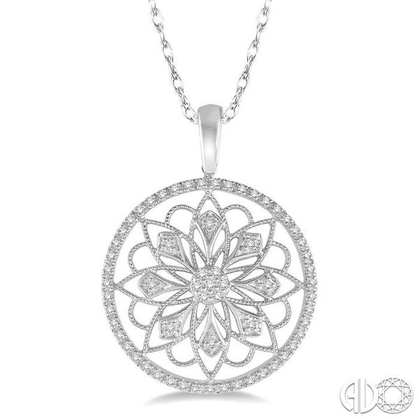 1/5 Ctw Round Cut Diamond Circle Flower Pendant in 10K White Gold with Chain Becker's Jewelers Burlington, IA