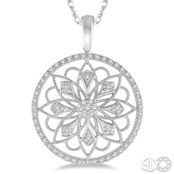 1/5 Ctw Round Cut Diamond Circle Flower Pendant in 10K White Gold with Chain Image 3 Becker's Jewelers Burlington, IA