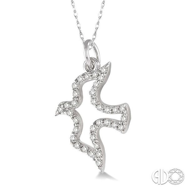 1/6 Ctw Single Cut Diamond Dove Pendant in 14K White Gold with Chain Image 2 Becker's Jewelers Burlington, IA