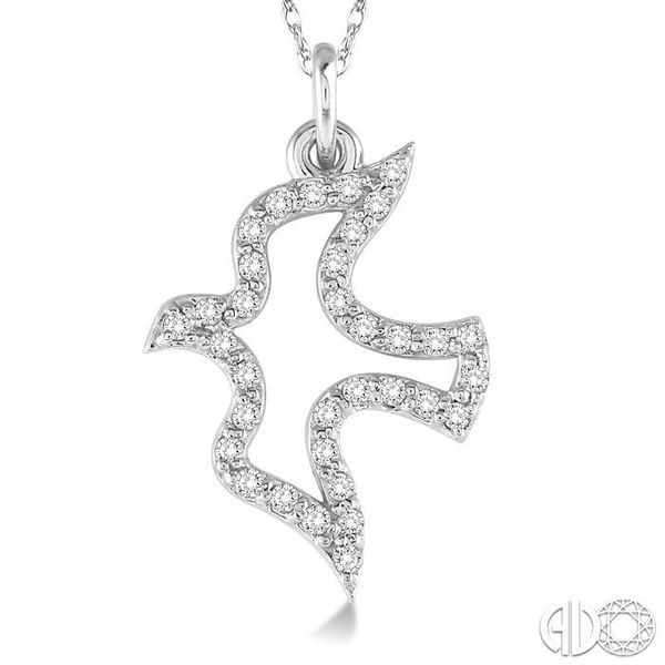 1/6 Ctw Single Cut Diamond Dove Pendant in 14K White Gold with Chain Image 3 Becker's Jewelers Burlington, IA