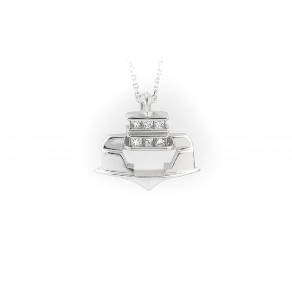 Ferry Boat Pendant with Diamonds Blue Heron Jewelry Company Poulsbo, WA