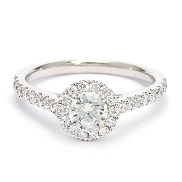 Round Diamond Halo Engagement Ring in White Gold (0.50-carat center) Bremer Jewelry Peoria, IL