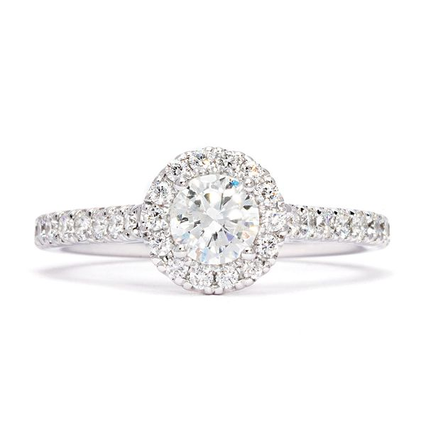 Round Diamond Halo Engagement Ring in White Gold (0.50-carat center) Image 2 Bremer Jewelry Peoria, IL