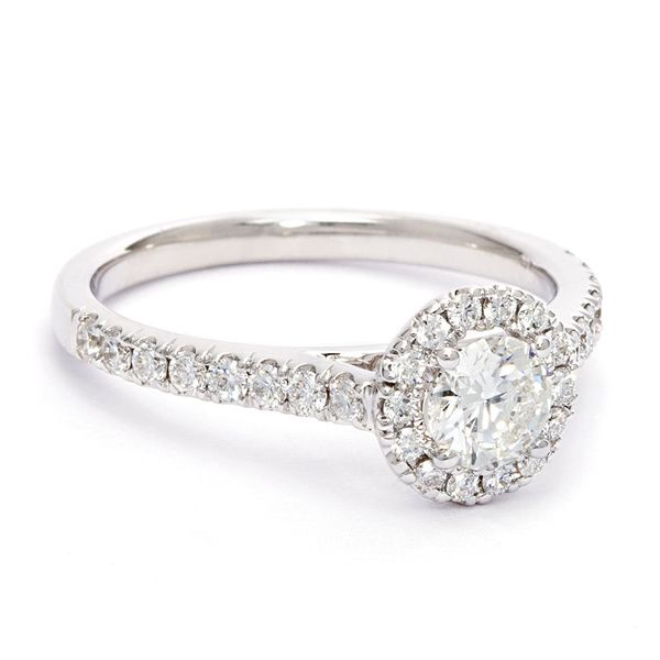 Round Diamond Halo Engagement Ring in White Gold (0.50-carat center) Image 3 Bremer Jewelry Peoria, IL