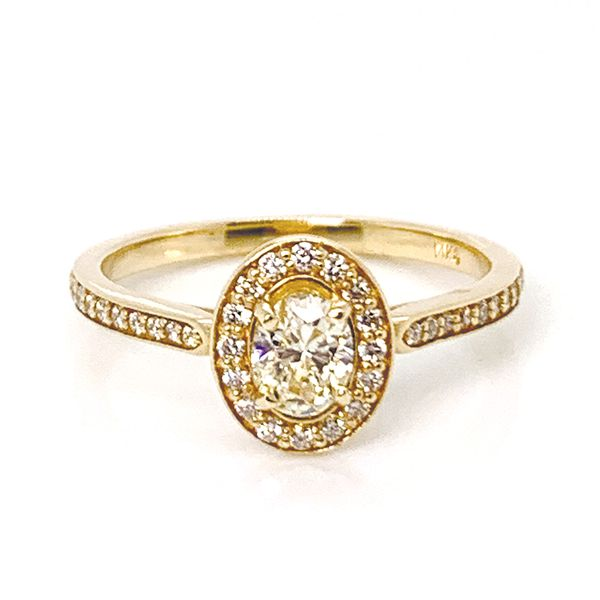Unique Oval Diamond Engagement Ring with Halo in Yellow Gold Bremer Jewelry Peoria, IL