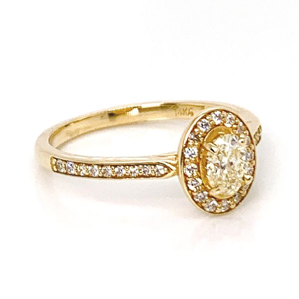 Unique Oval Diamond Engagement Ring with Halo in Yellow Gold Image 3 Bremer Jewelry Peoria, IL