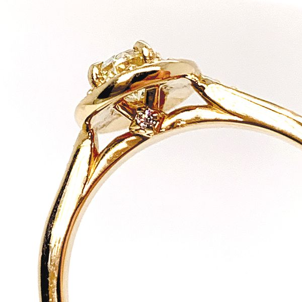 Unique Oval Diamond Engagement Ring with Halo in Yellow Gold Image 4 Bremer Jewelry Peoria, IL