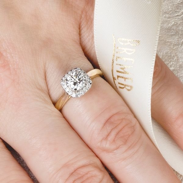 Cushion Halo Diamond Engagement Ring in Yellow Gold (0.87ctw) Image 2 Bremer Jewelry Peoria, IL